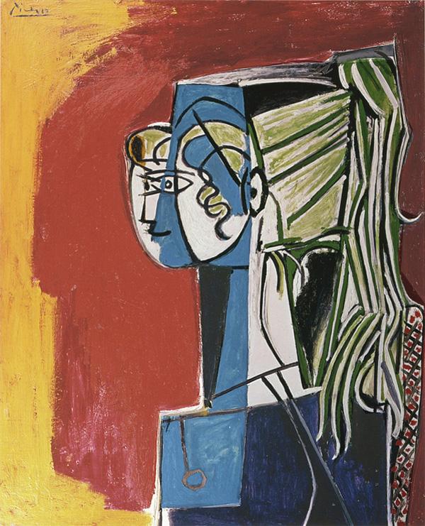 Картина Пабло Пикассо. Портрет Сильветт Давид на красном фоне. 1954