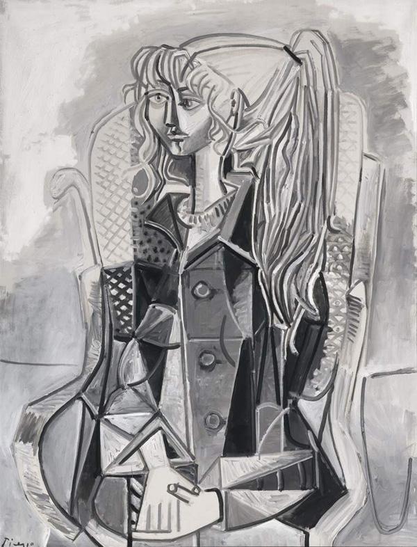 Картина Пабло Пикассо. Портрет Сильветт Давид в плетеном кресле. 1954