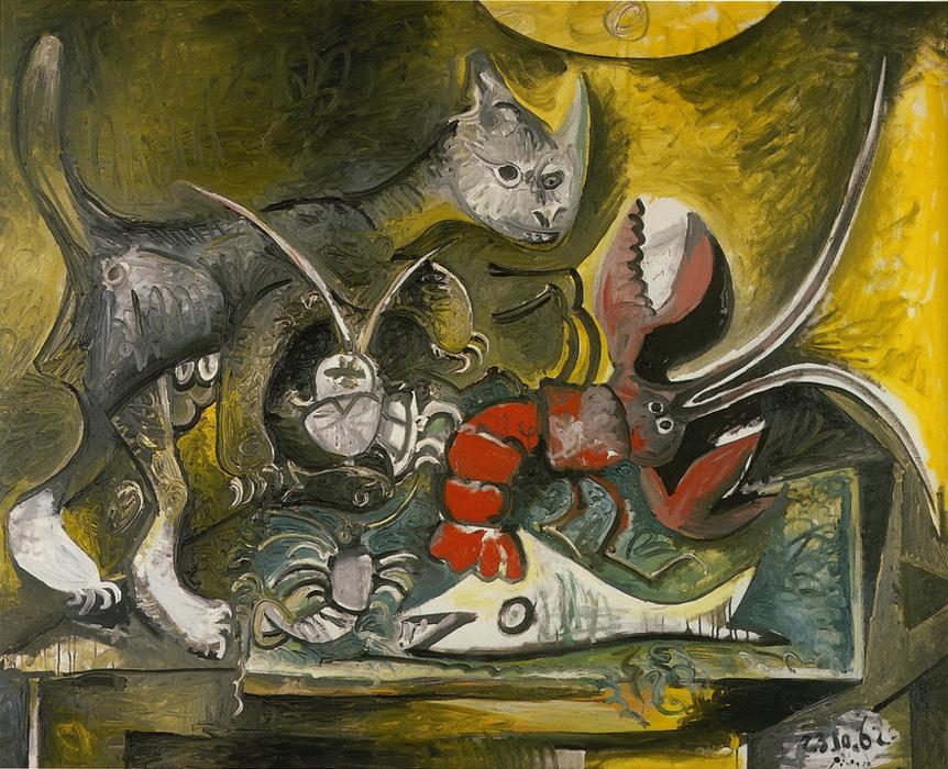 Картина Пабло Пикассо. Натюрморт, кошка и омар. 1962