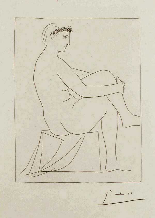 Картина Пабло Пикассо. Сюита Воллара (001). Обнаженная с венком. 1930.