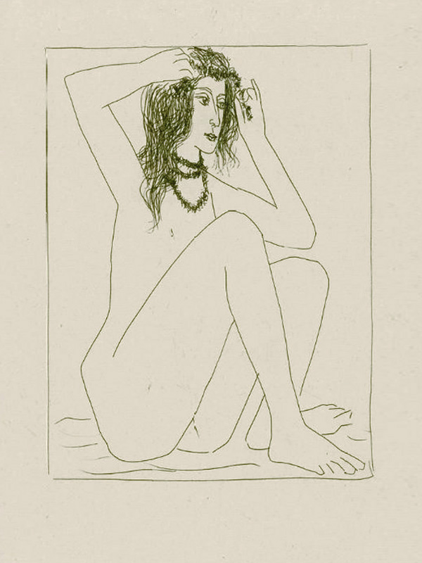Картина Пабло Пикассо. Сюита Воллара (002). Обнаженная, надевающая венок. 1930