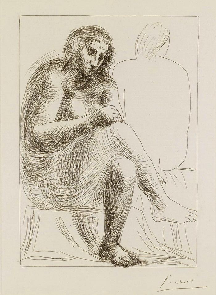Картина Пабло Пикассо. Сюита Воллара (003). Купальщица. 1930