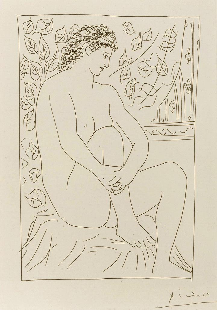 Картина Пабло Пикассо. Сюита Воллара (004). Обнаженная на фоне занавеса. 1931