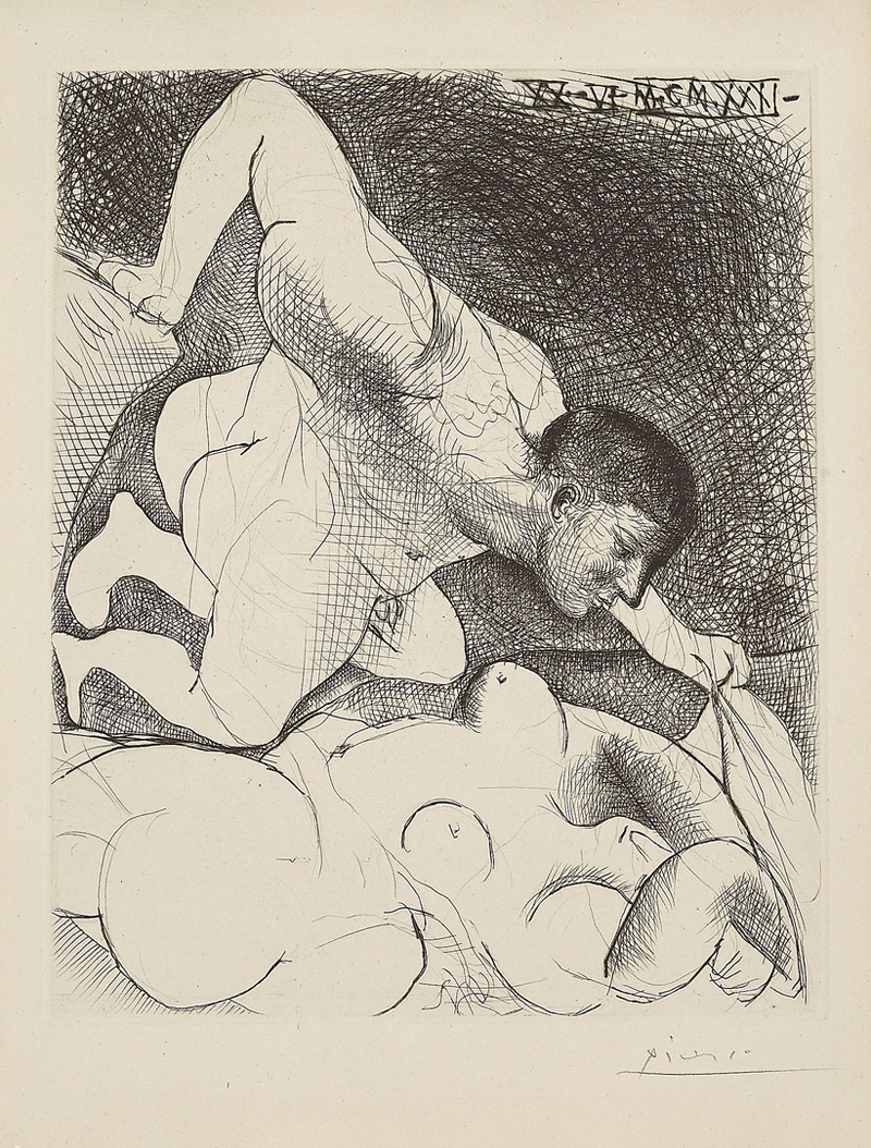 Картина Пабло Пикассо. Сюита Воллара (005). Раскрывающий спящую. 1931
