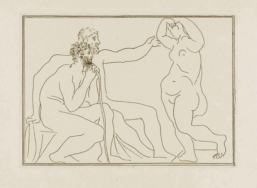 Картина Пабло Пикассо. Сюита Воллара (007). Два скульптора перед статуей. 1931