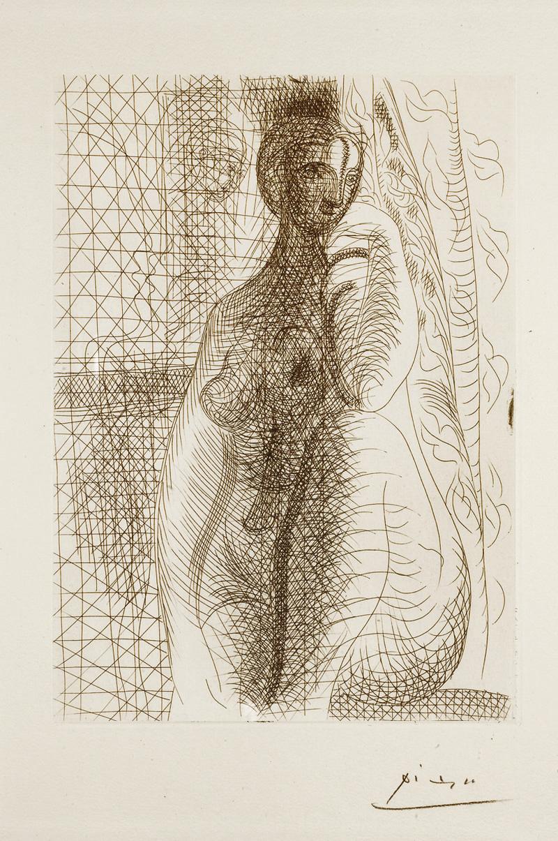 Картина Пабло Пикассо. Сюита Воллара (008). Обнаженная с согнутой ногой. 1931