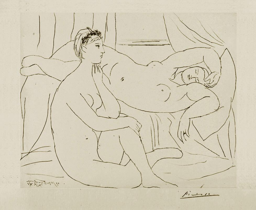 Картина Пабло Пикассо. Сюита Воллара (010). Сидящая и лежащая обнаженные. 1931