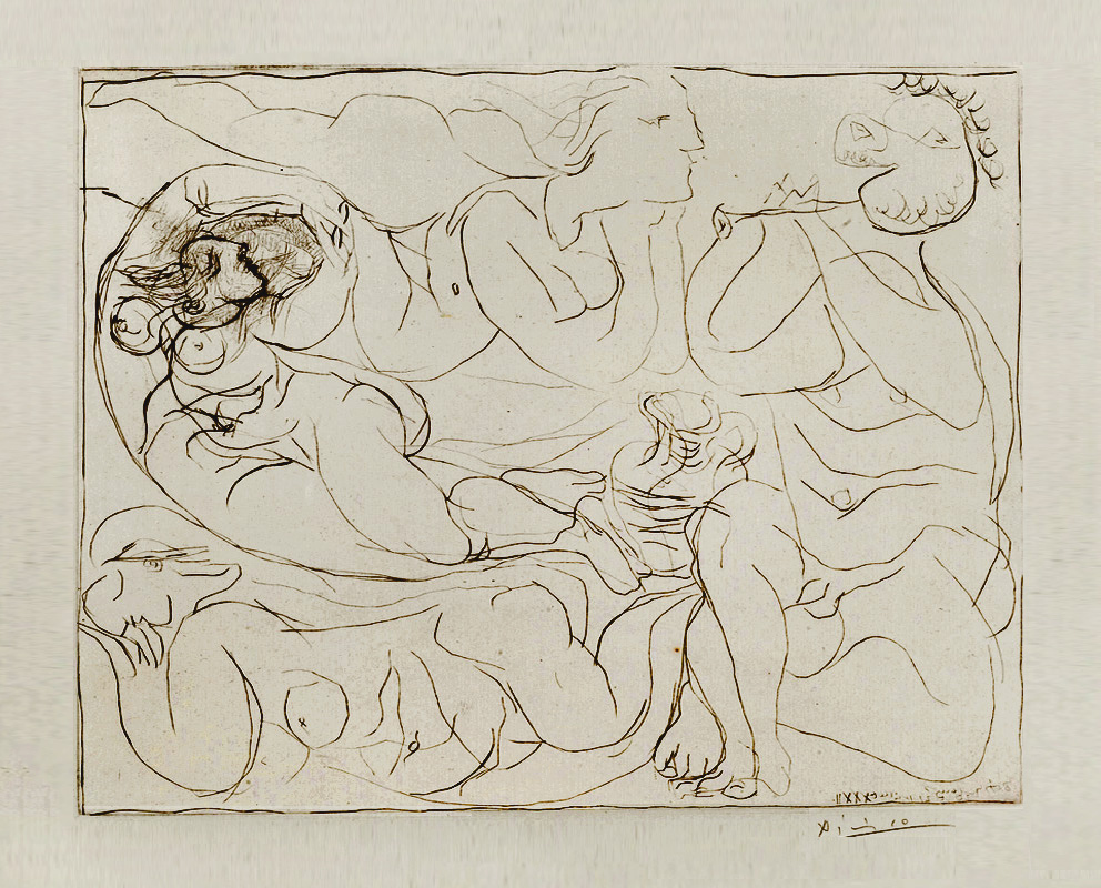 Картина Пабло Пикассо. Сюита Воллара (011). Флейтист и три обнаженные женщины. 1932