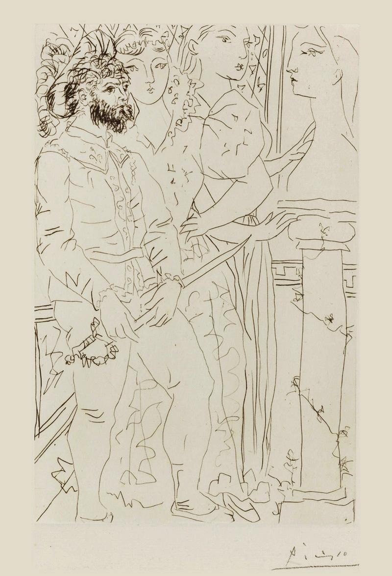 Картина Пабло Пикассо. Сюита Воллара (012). Три актера. 1933