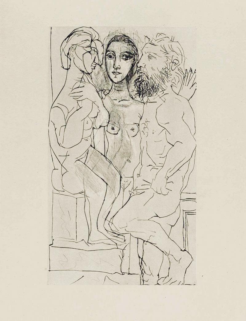 Картина Пабло Пикассо. Сюита Воллара (013). Скульптор, модель и скульптура. 1933