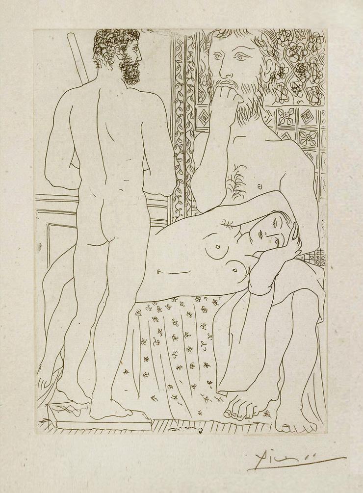 Картина Пабло Пикассо. Сюита Воллара (014). Скульптор, лежащая модель и скульптура. 1933