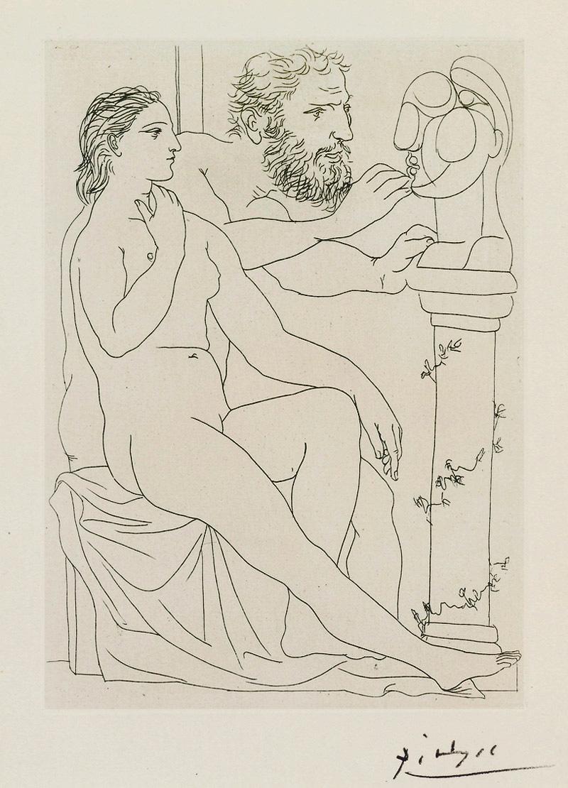 Картина Пабло Пикассо. Сюита Воллара (015). Скульптор, модель и скульптурный бюст. 1933
