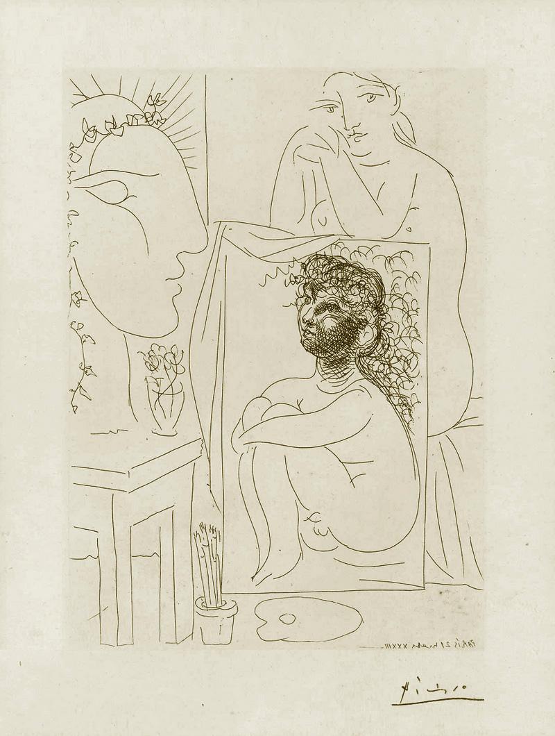 Картина Пабло Пикассо. Сюита Воллара (018). Модель, опирающаяся на картину. 1933