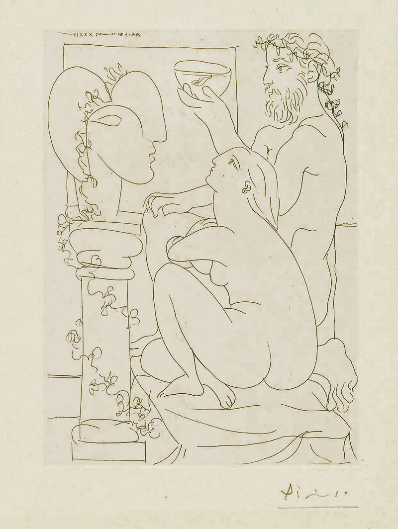 Картина Пабло Пикассо. Сюита Воллара (019). Скульптор с кубком, модель и скульптура. 1933