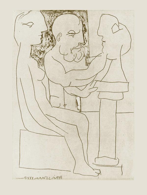 Картина Пабло Пикассо. Сюита Воллара (020). Старый скульптор за работой. 1933