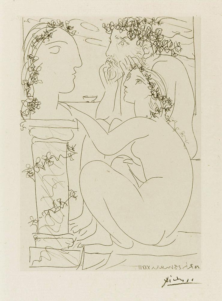 Картина Пабло Пикассо. Сюита Воллара (022). Скульптор и модель, любующиеся скульптурой. 1933