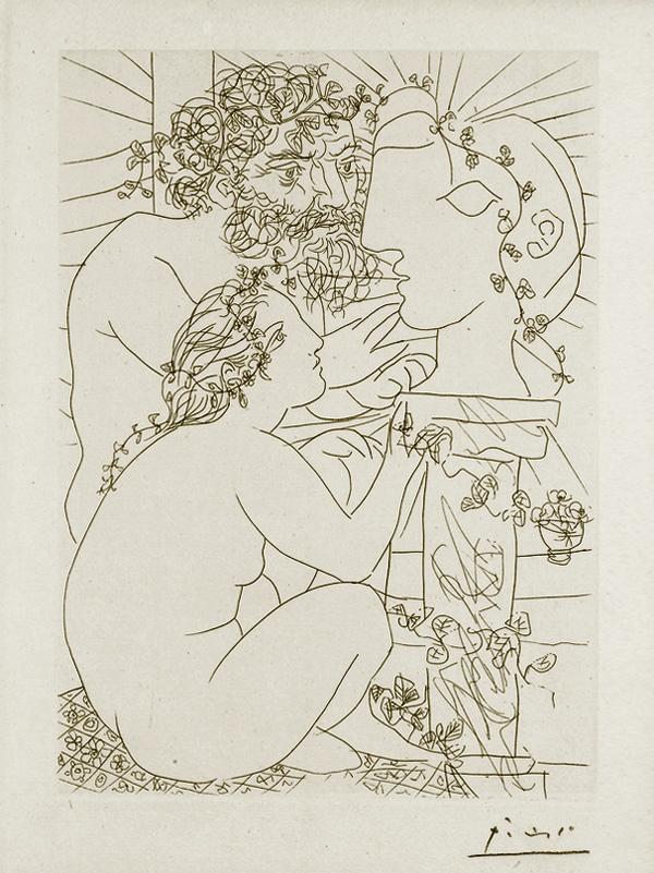 Картина Пабло Пикассо. Сюита Воллара (021). Скульптор, модель и скульптурная голова. 1933