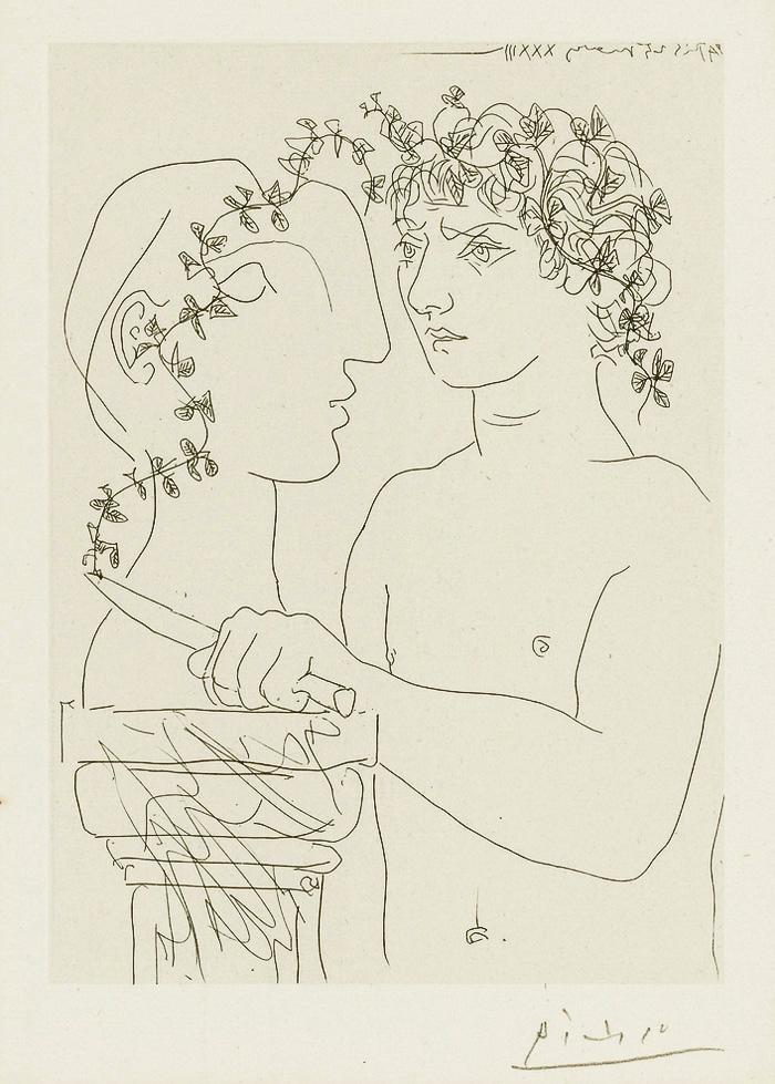 Картина Пабло Пикассо. Сюита Воллара (023). Молодой скульптор за работой. 1933