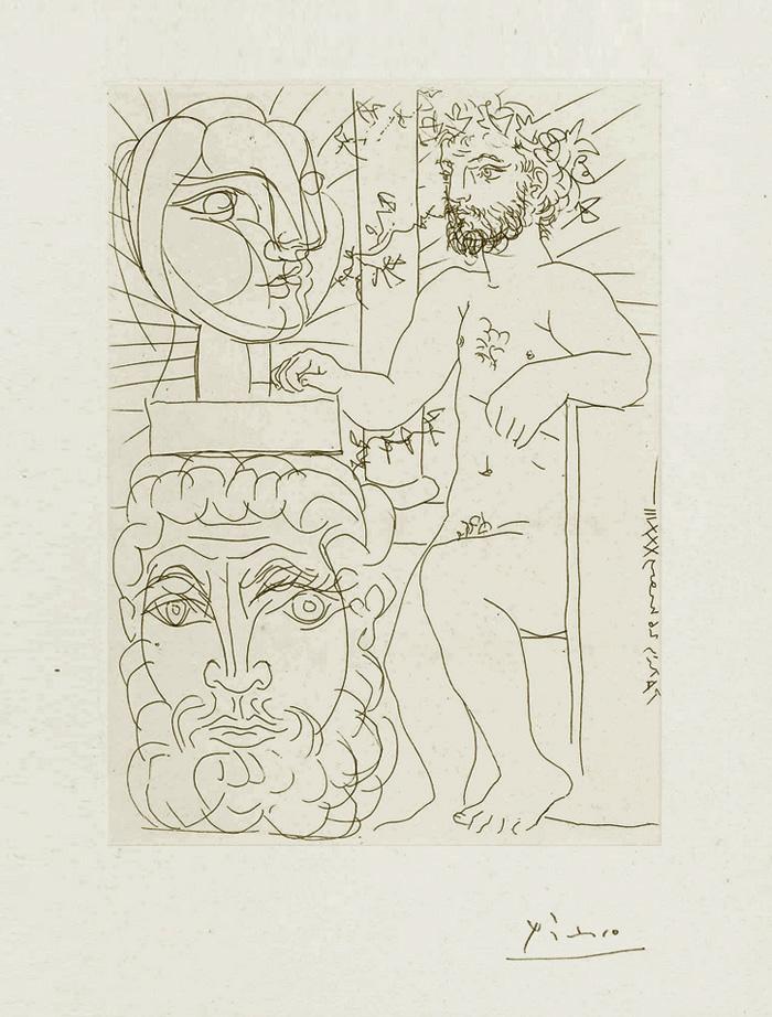 Картина Пабло Пикассо. Сюита Воллара (024). Скульптор и две скульптурные головы. 1933