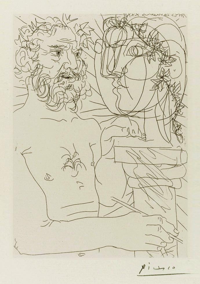 Картина Пабло Пикассо. Сюита Воллара (025). Скульптор за работой. 1933