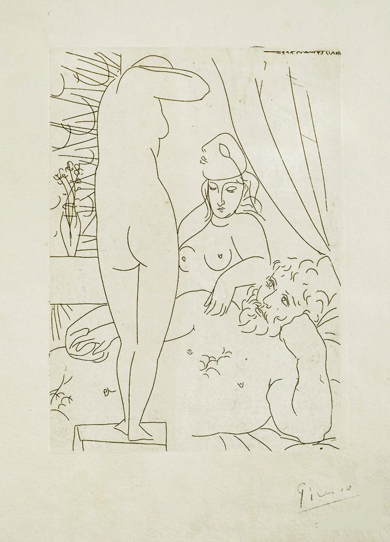 Картина Пабло Пикассо. Сюита Воллара (026). Отдых скульптора, модель с маской. 1933