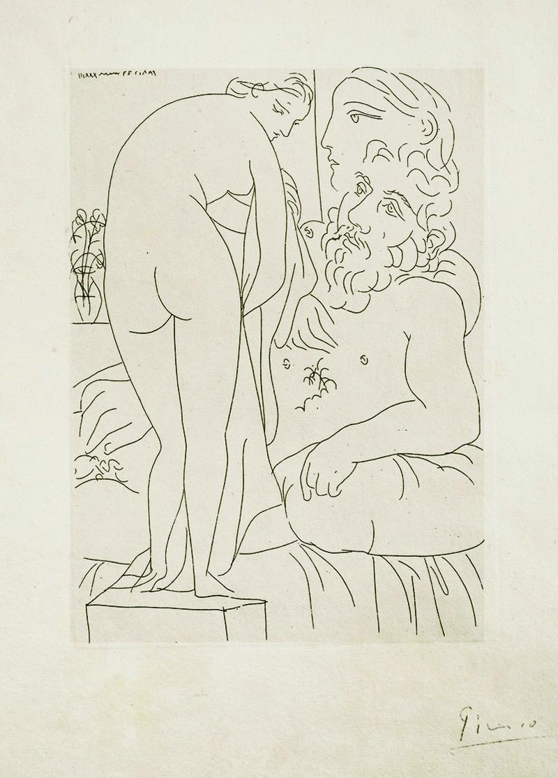 Картина Пабло Пикассо. Сюита Воллара (027). Отдых скульптора, обнаженная с драпировкой. 1933