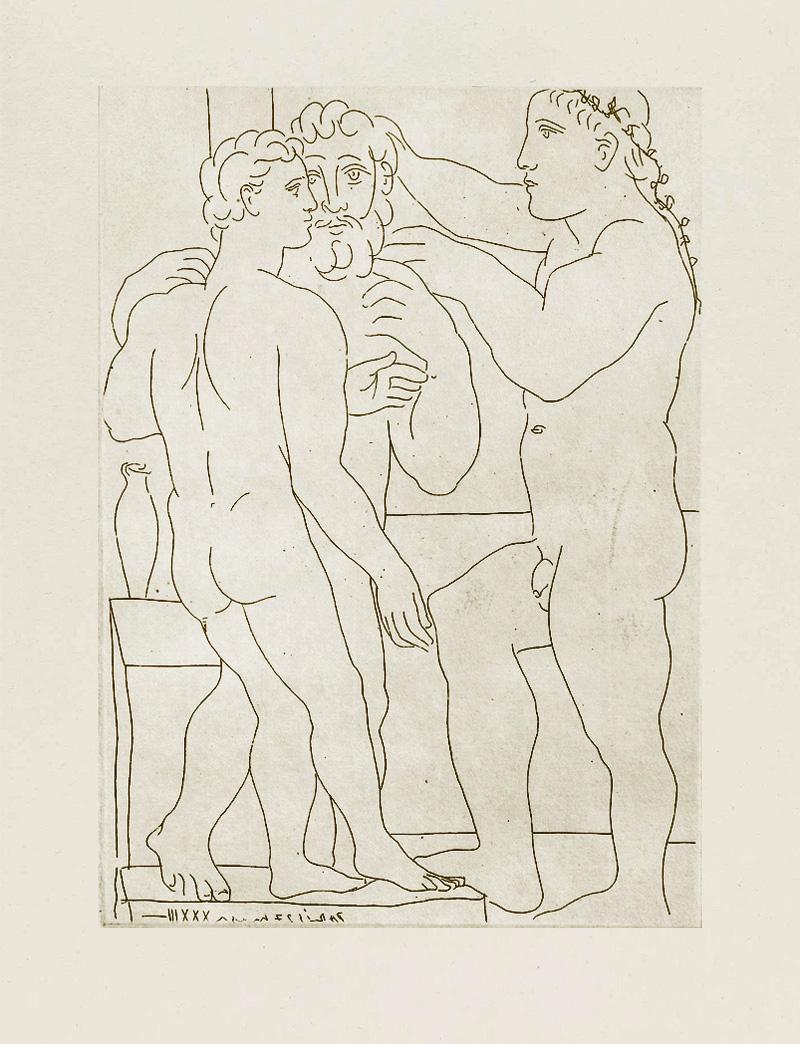 Картина Пабло Пикассо. Сюита Воллара (028). Скульптор и две мужские скульптуры. 1933
