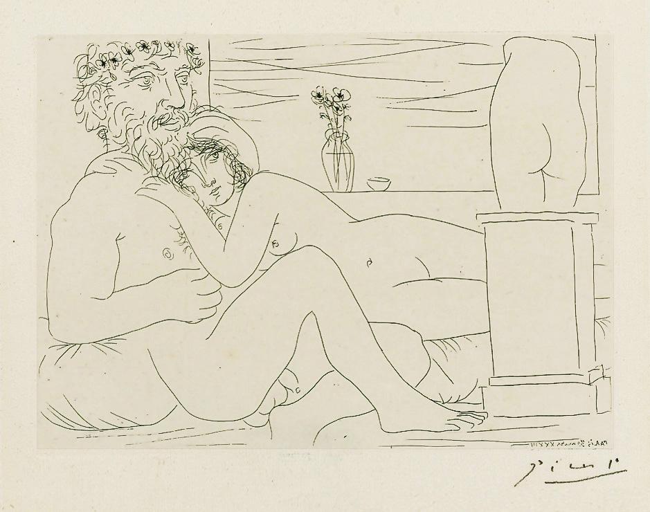 Картина Пабло Пикассо. Сюита Воллара (029). Отдых скульптора перед скульптурным торсом. 1933