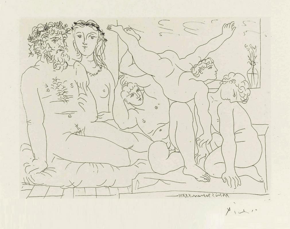 Картина Пабло Пикассо. Сюита Воллара (030). Скульптор, модель и скульптурная группа акробатов. 1933
