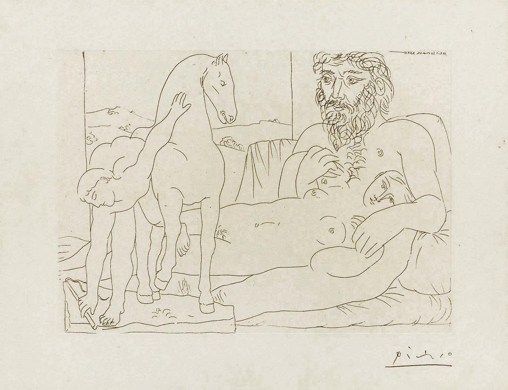 Картина Пабло Пикассо. Сюита Воллара (031). Отдых скульптора перед скульптурой гонца. 1933