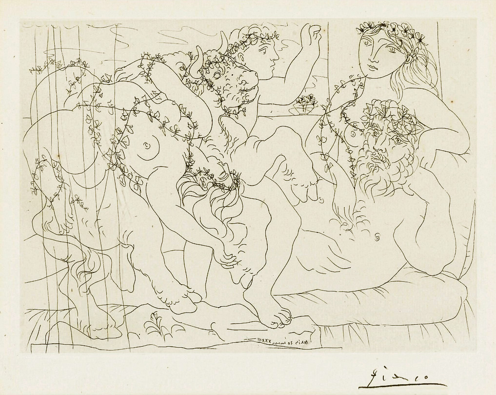 Картина Пабло Пикассо. Сюита Воллара (032). Отдых скульптора, или вакханалия с быком. 1933