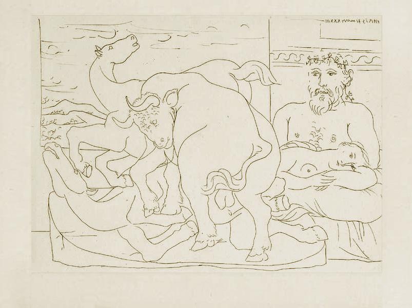 Картина Пабло Пикассо. Сюита Воллара (033). Отдых скульптора, или бой быка с лошадьми. 1933
