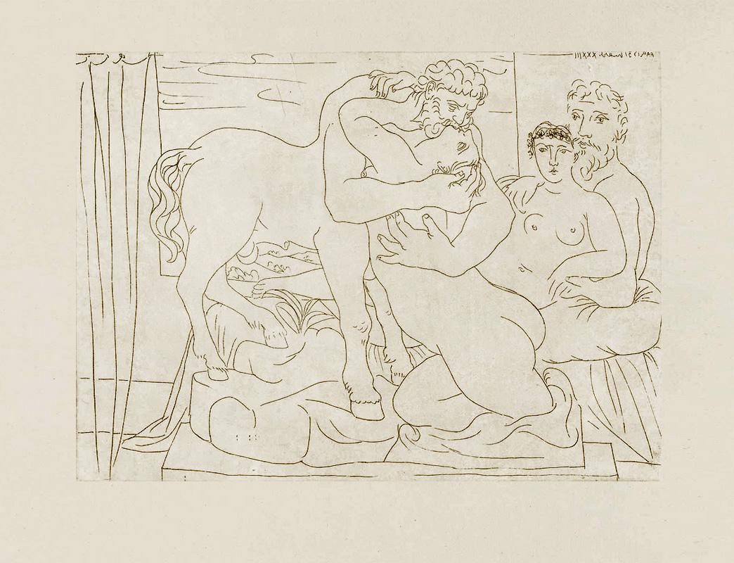 Картина Пабло Пикассо. Сюита Воллара (034). Отдых скульптора перед скульптурой кентавра и женщины. 1933