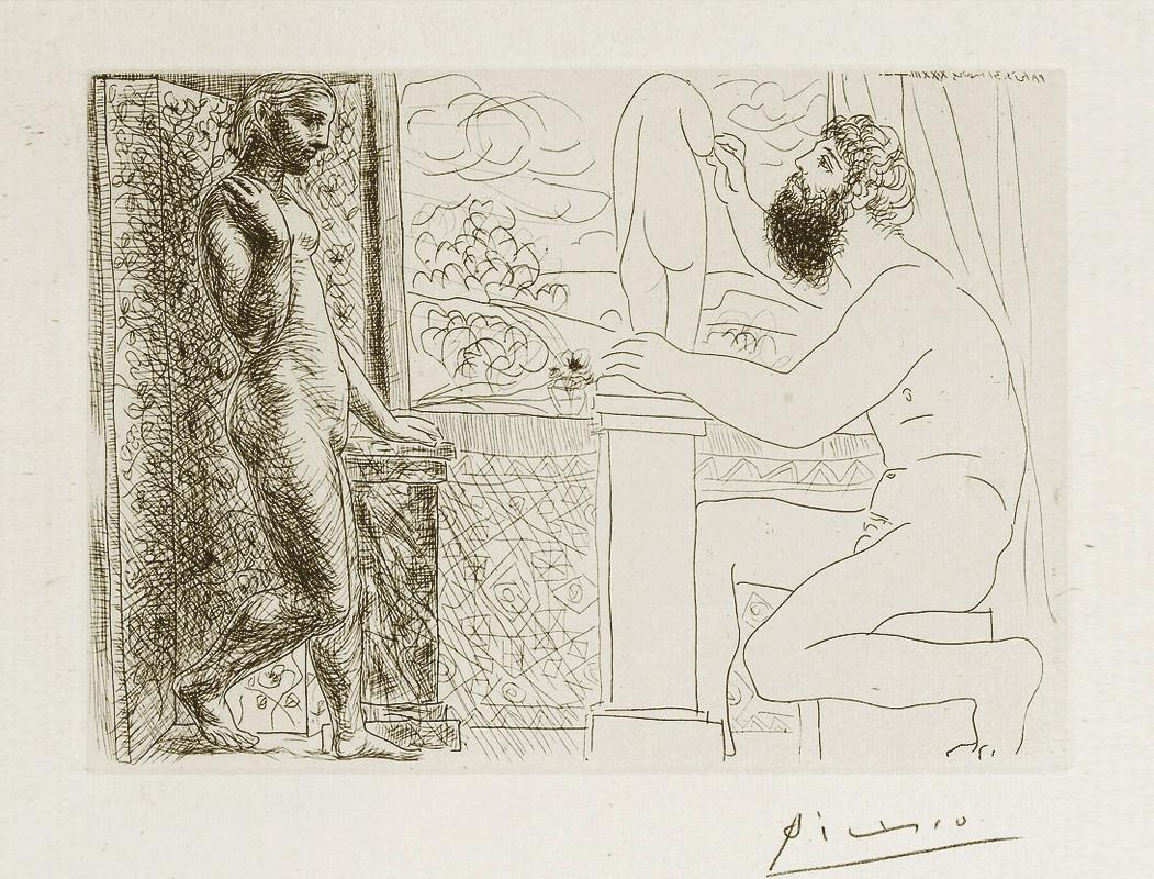 Картина Пабло Пикассо. Сюита Воллара (035). Модель, позирующая скульптору. 1933
