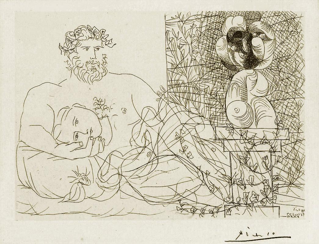 Картина Пабло Пикассо. Сюита Воллара (036). Отдых скульптора и сюрреалистическая скульптура. 1933
