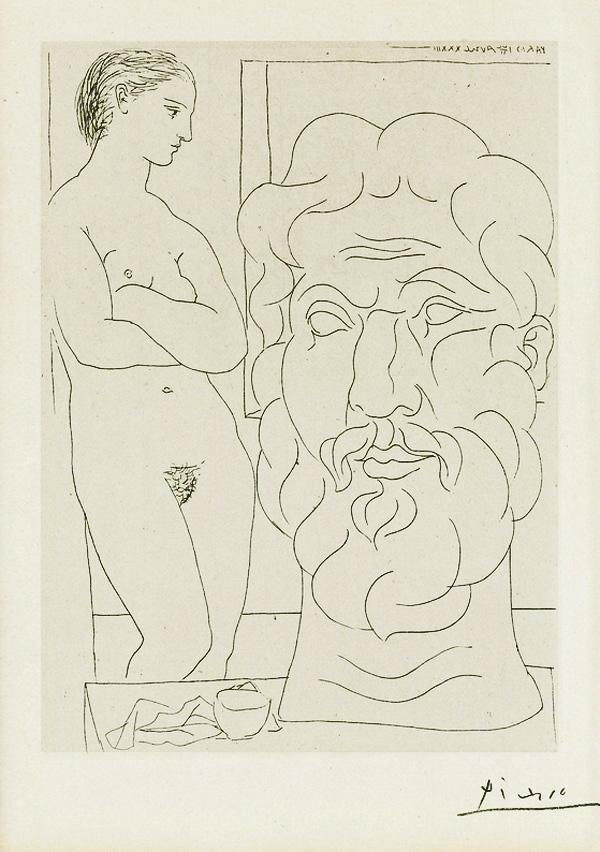 Картина Пабло Пикассо. Сюита Воллара (037). Модель и большая скульптурная голова. 1933