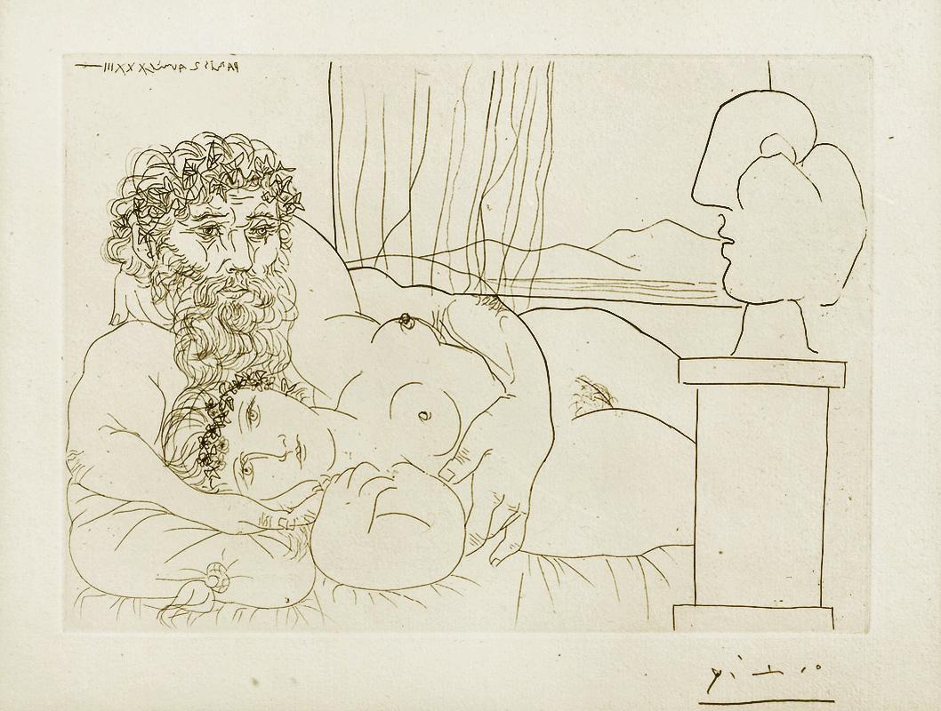Картина Пабло Пикассо. Сюита Воллара (038). Отдых скульптора (Скульптор, модель и сюрреалистическая скульптура). 1933