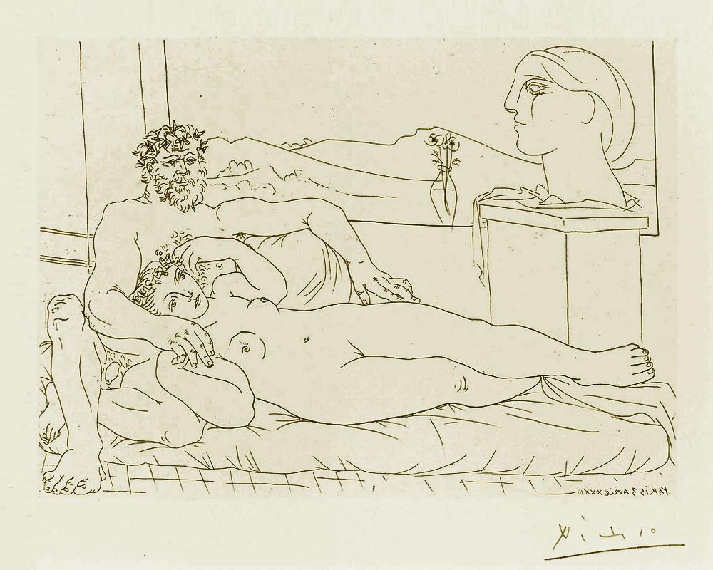 Картина Пабло Пикассо. Сюита Воллара (039). Отдых скульптора (Скульптор, модель и реалистическая скульптура). 1933