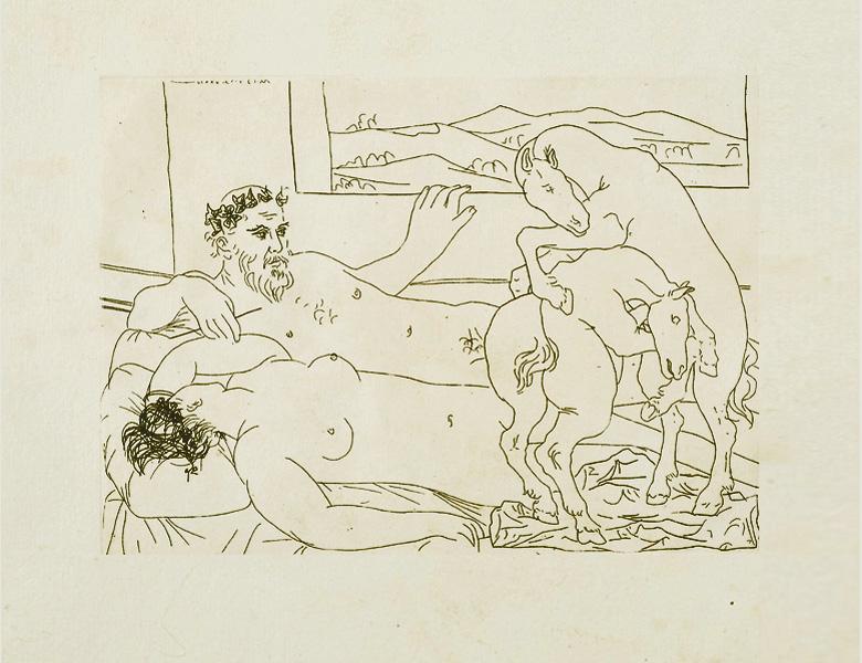 Картина Пабло Пикассо. Сюита Воллара (040). Отдых скульптора (Скульптор, модель и скульптура лошадей). 1933