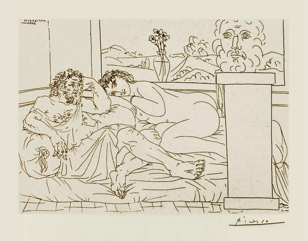 Картина Пабло Пикассо. Сюита Воллара (041). Отдых скульптора (Скульптор, модель и автопортрет скульптора). 1933