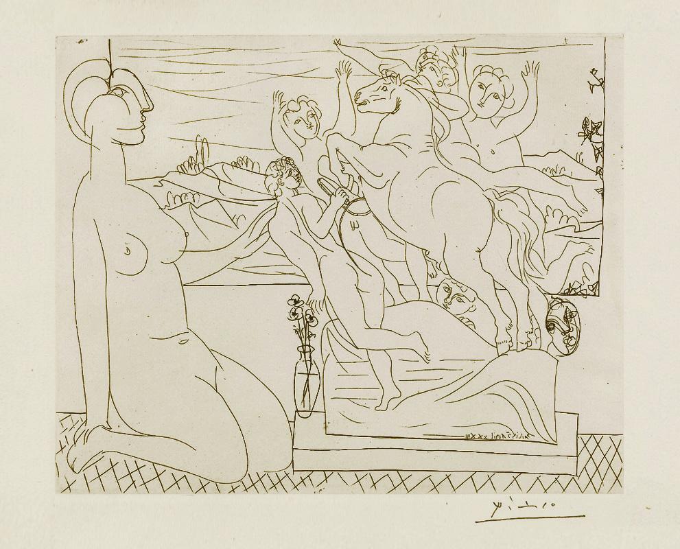 Картина Пабло Пикассо. Сюита Воллара (042). Модель перед скульптурной группой. 1933