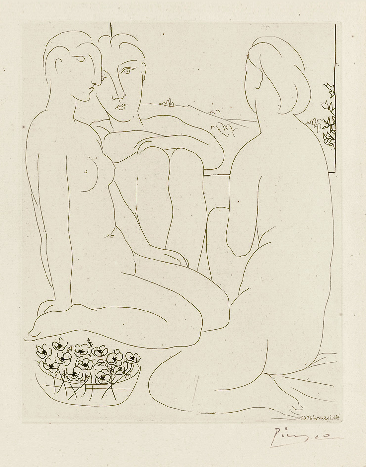 Картина Пабло Пикассо. Сюита Воллара (043). Три обнаженные у окна. 1933