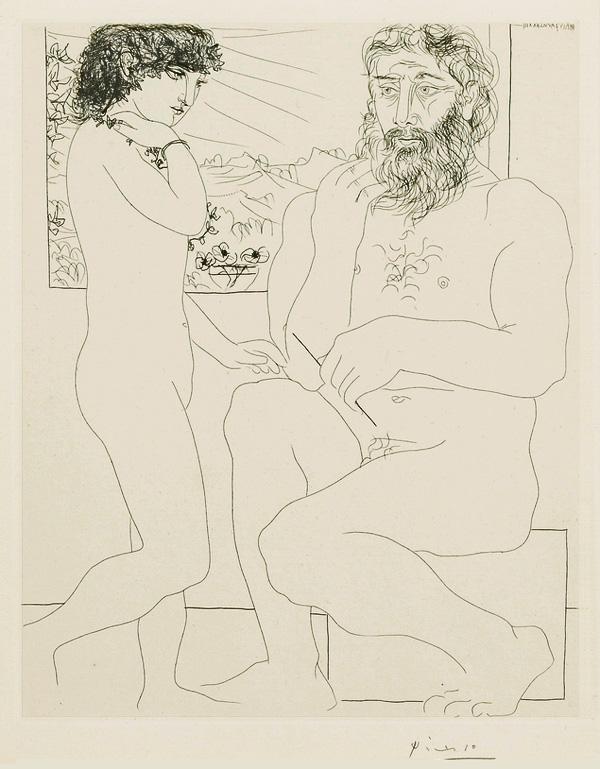 Картина Пабло Пикассо. Сюита Воллара (044). Модель, стоящая перед скульптором. 1933
