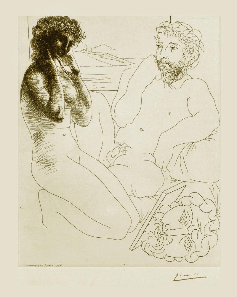 Картина Пабло Пикассо. Сюита Воллара (045). Скульптор и присевшая перед ним модель. 1933