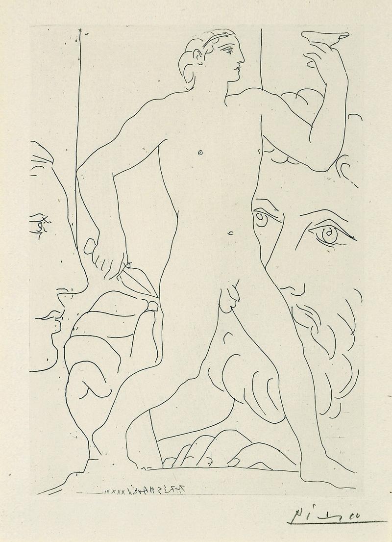 Картина Пабло Пикассо. Сюита Воллара (046). Скульптура юноши с кубком. 1933