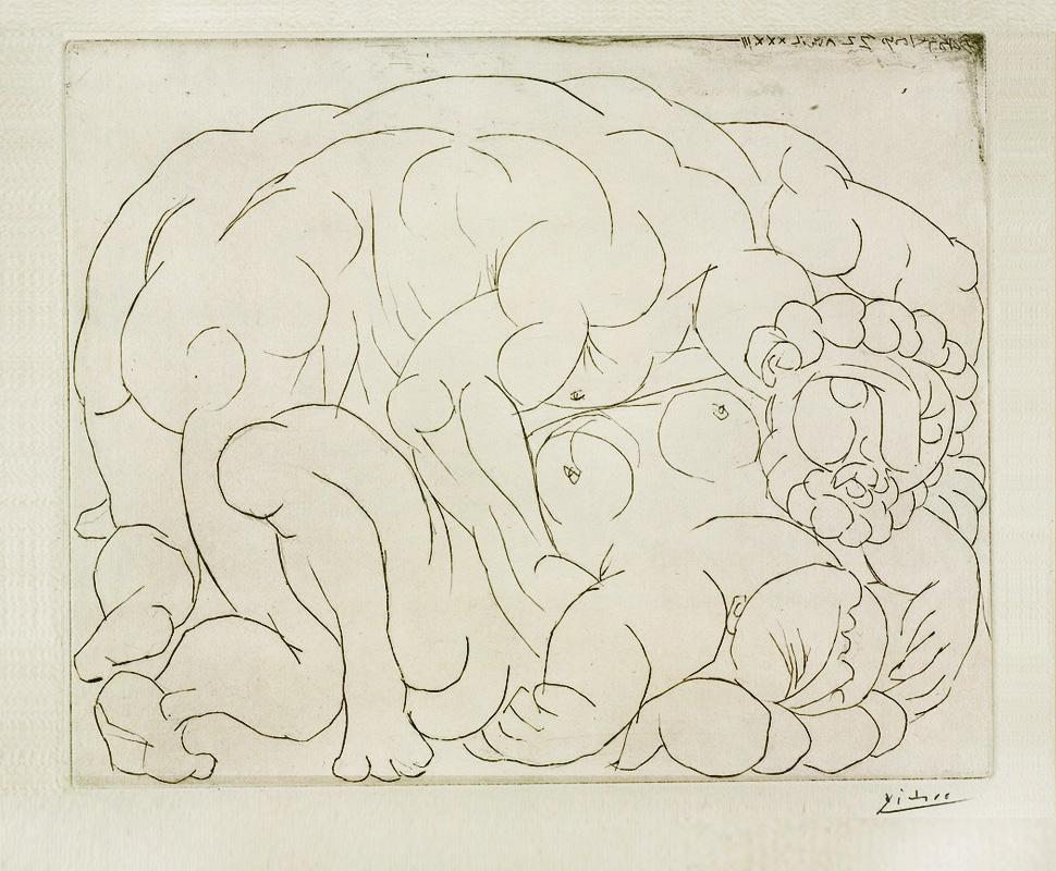 Картина Пабло Пикассо. Сюита Воллара (047). Изнасилование. 1933