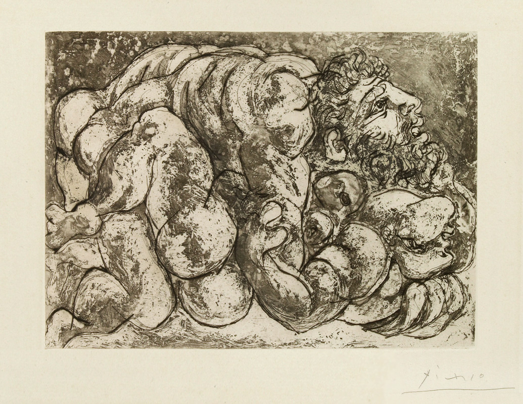 Картина Пабло Пикассо. Сюита Воллара (048). Изнасилование. 1933