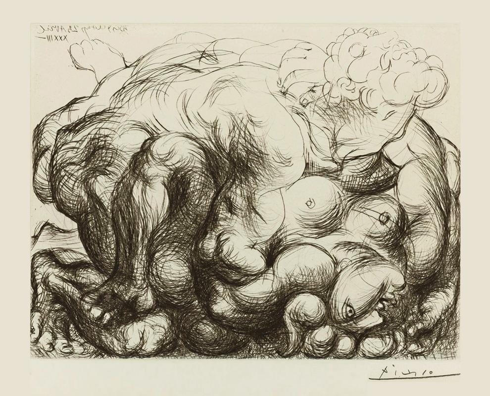 Картина Пабло Пикассо. Сюита Воллара (049). Изнасилование. 1933