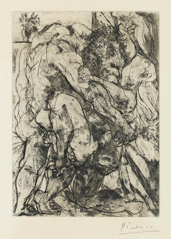 Картина Пабло Пикассо. Сюита Воллара (050). Изнасилование. 1933