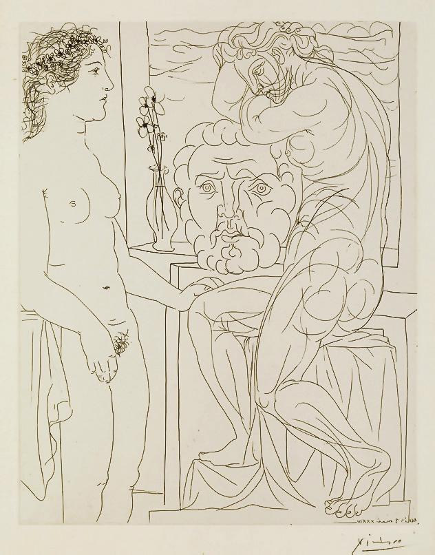 Картина Пабло Пикассо. Сюита Воллара (052). Обнаженная и скульптуры. 1933